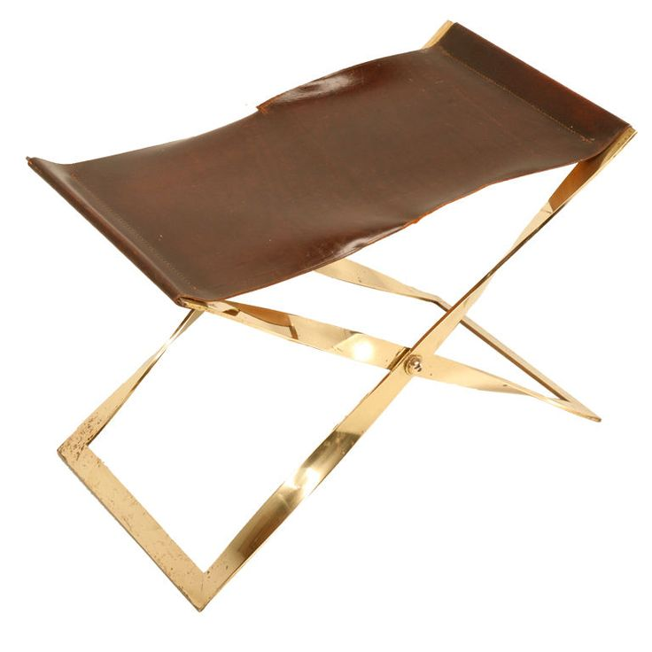 Danish Brass Folding Propeller Stool w/Leather Seat style of Poul ...