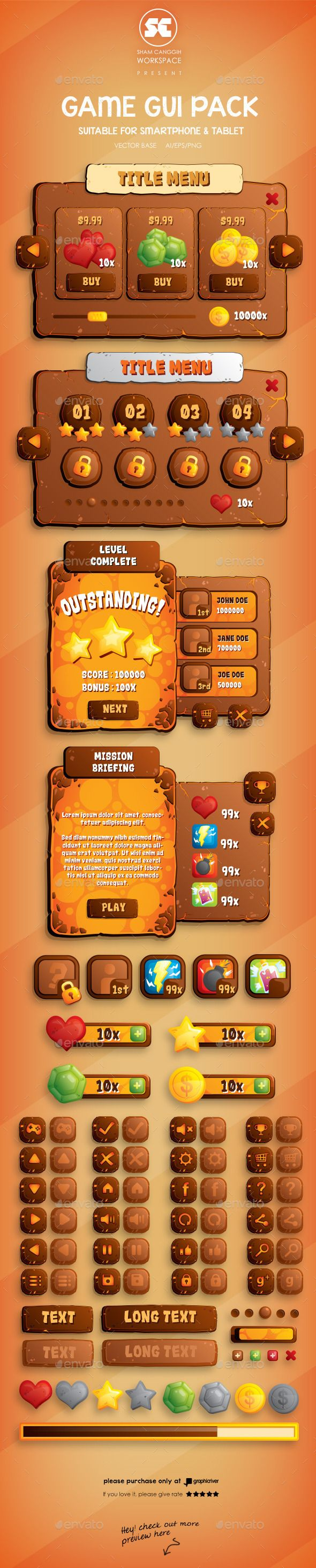 Volcano Game GUI - User Interfaces Game Assets