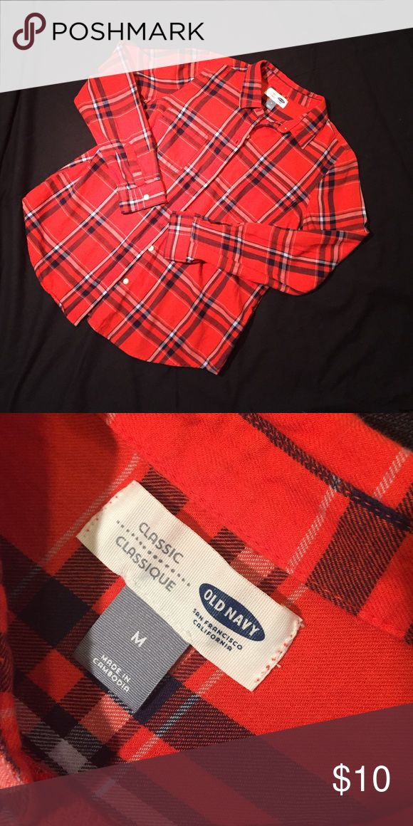 Old Navy flannel button down Worn several times. Perfect condition. Orange and navy plaid. Perfect for AUBURN game day Old Navy Tops Button Down Shirts
