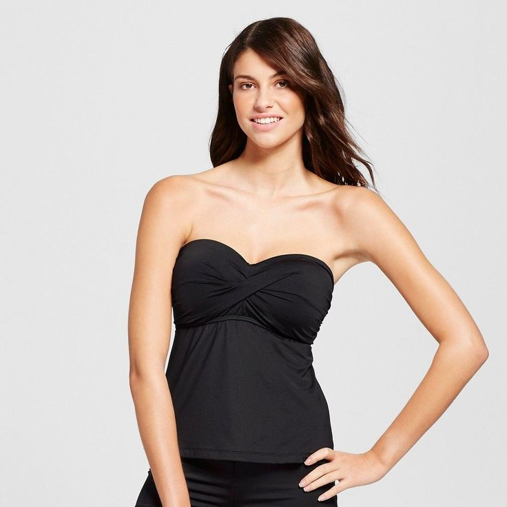 Women's Molded Cup Twist Bandeau Tankini Top - Black - D - Mossimo
