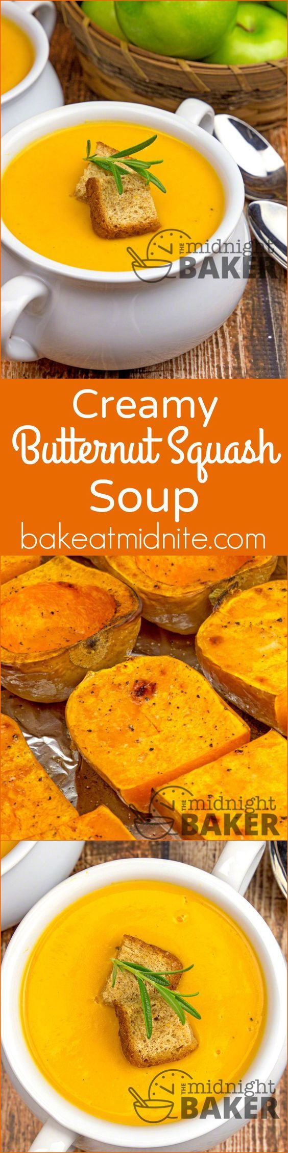 "Creamy Butternut Squash Soup ~ nothing says ""fall"" better than roasted squash made into a creamy soup!"