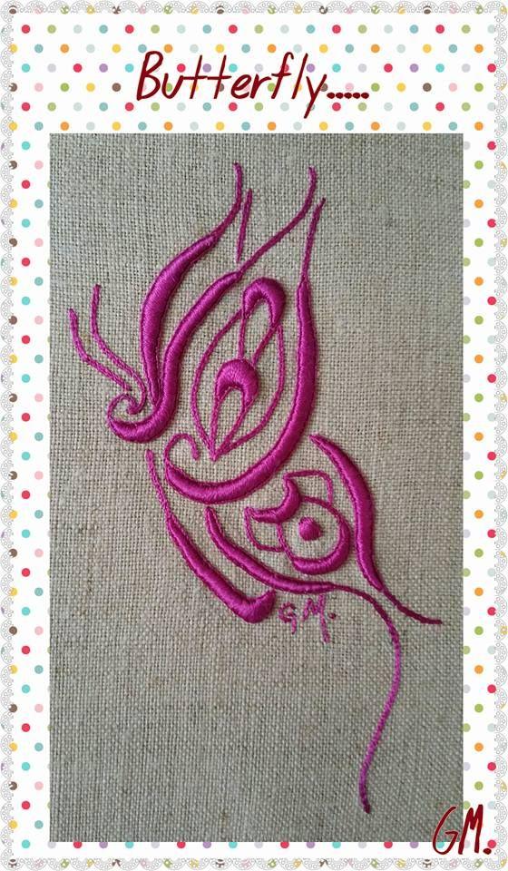 Stylized Butterfly in viscose yarn
