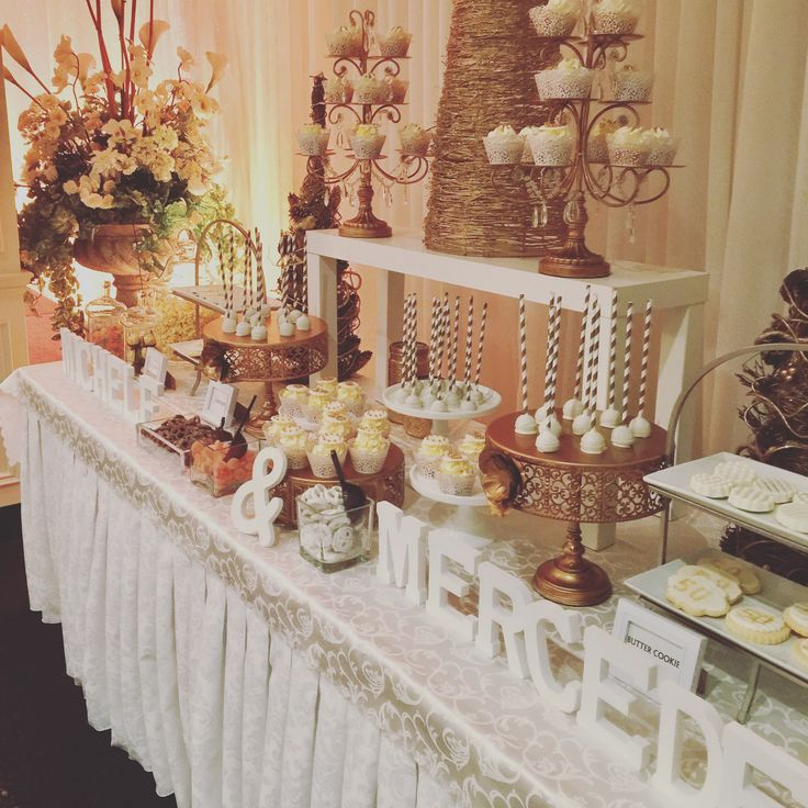 Gold theme 50th anniversary sweet candy bar -cupcakes-cake pops-cookies -candy