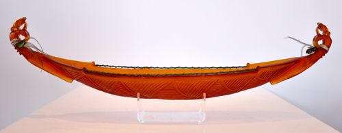 Shona Firman Kura Gallery Maori Art Design New Zealand Cast Glass Sculpture Manaia Canoe Waka