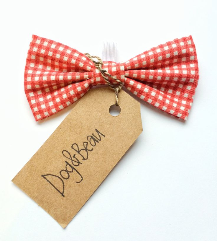 dog bow tie, red bow tie, gingham bow tie, gifts for dogs, gifts for pets, vintage bow tie by DogandBeau on Etsy