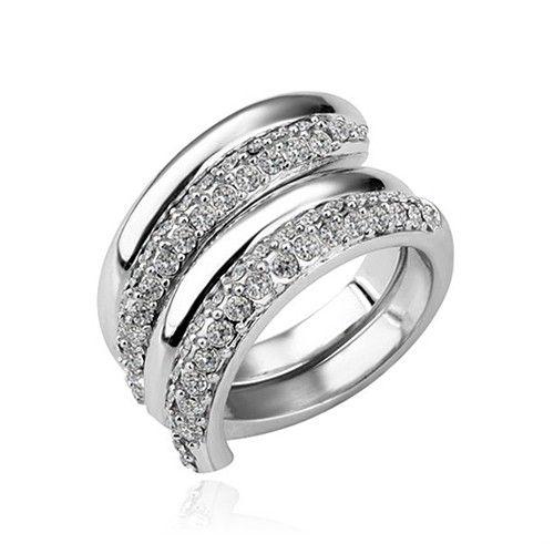 Масивен дамски пръстен от две части с бели австрийски кристали
