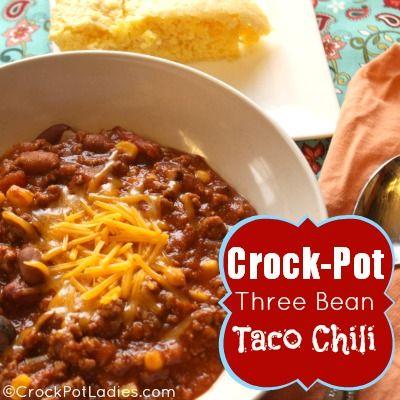 Crock-Pot Three Bean Taco Chili {via CrockPotLadies.com}