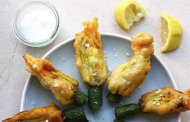 Lemon Ricotta Stuffed Zucchini Blossoms | Recipe