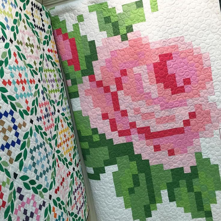 = Free Pattern = Pixelated Rose Quilt Made By Trish