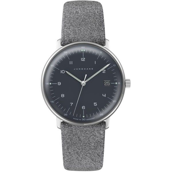 Junghans 54442904 Women's Max Bill Date Leather Strap Watch,... (610 CHF) ❤ liked on Polyvore featuring jewelry, watches, water resistant watches, leather strap watches, leather-strap watches, pin jewelry and junghans watches