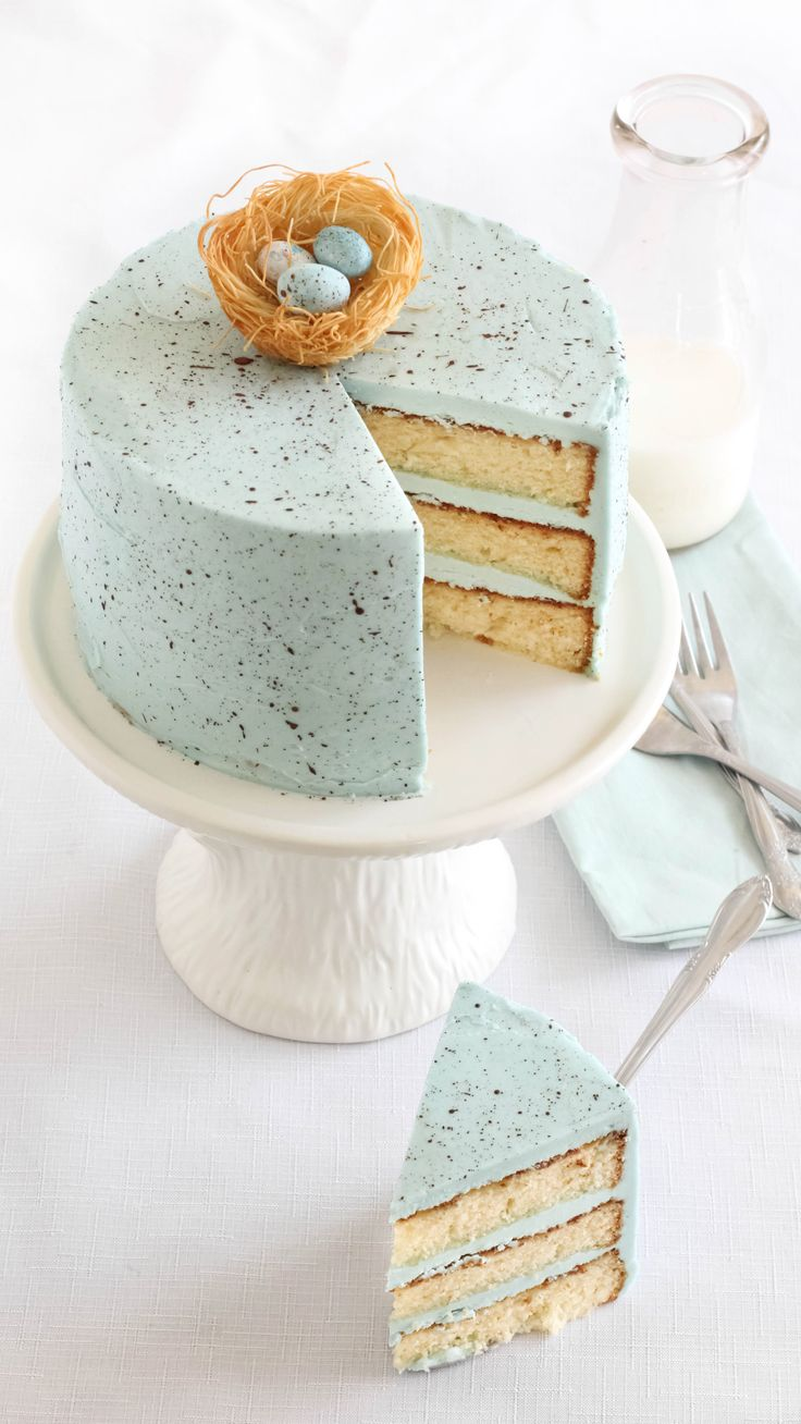 Need a showstopping Easter dessert? The beautiful robin's egg-blue speckled frosting is so simple to make! You may want to buy a new stiff-bristled craft brush to use for speckling; one that's 2 inches or larger will work best. Go ahead and speckle the malted milk egg candies while you're at it.
