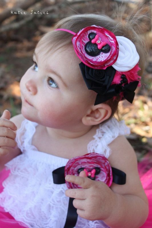 The Minnie Headband- Hot Pink, Black, White and Lace, Minnie Mouse, Photo Prop, Belt, Wedding, Baby Girl