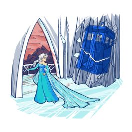 ❥❥❥Love! Must be had for my Disney *Princess~Doctor Who~Tardis Crossover* TeeFury collection!!❥❥❥ Frozen in Time and Space, Frozen / Doctor Who / Tardis / Queen Elsa Shirt | TeeFury