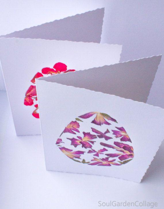 Uovo di Pasqua di OOAK Pasqua saluto carta fiori pressati arte