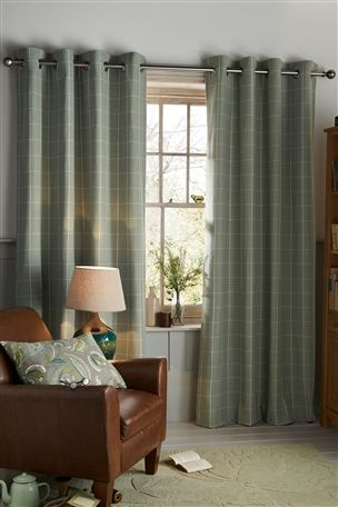Buy Green Check Eyelet Curtains From The Next UK Online Shop