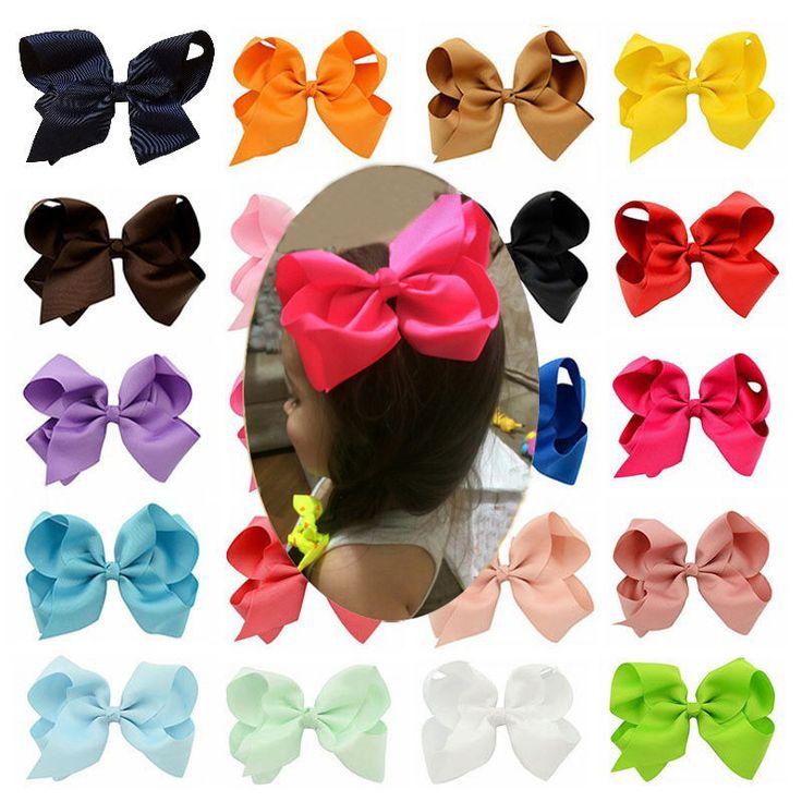 Mode 6 Inch Lucu Boutique Grosgrain Ribbon Busur Rambut Pin Jepit Rambut Gadis Kecil Busur Jepitan Rambut Anak Headwear Aksesoris Baru
