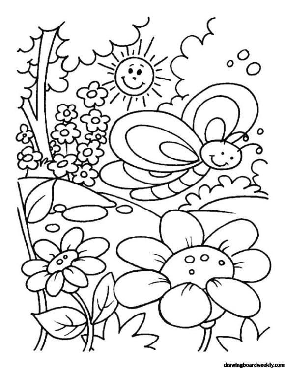 First Day Of Spring Coloring Page Kindergarten Coloring Pages Spring Coloring Sheets Summer Coloring Pages