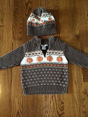 JANIE-JACK-boys-Halloween-Sweater-and-hat-Size-6-12-Months