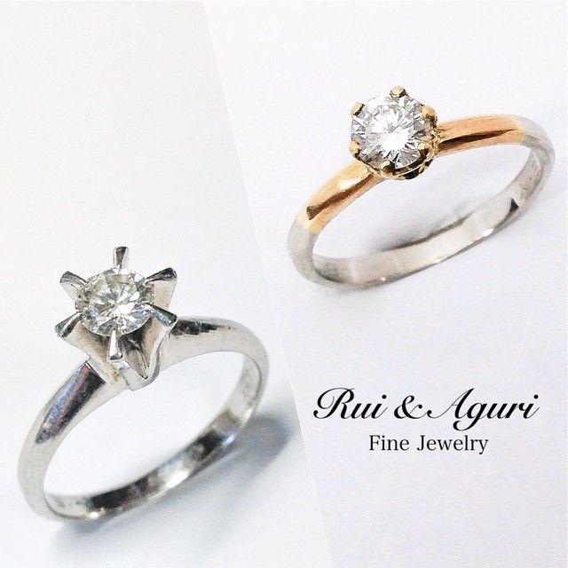 Just finished! From left to right! Gold & platinum made diamond engagement ring! The diamond & Platinum band is from her mothers old engagement ring cut and remaking new style with new yellow gold fantastic! Thanks for ordering! 左から右へ!完成でしたね!イエローゴールド&プラチナム!ダイヤモンドなご婚約指輪!ダイヤとプラチナは譲り受けたお母様のご婚約指輪をそのままリフォーム!色も素材も違うイエローゴールドを新たな世代にコンバイン!お母様より娘様へ、ご希望の指輪スタイルでエンゲージ!大切なご結婚までの6年間、記念の数字でお作りする6本爪のダイヤのソリテールリングでしたね!ご依頼本当に光栄です。ありがとうございました!Rui & Aguri Fine Jewelry Http://www.ruiandaguri.com #jewelry…
