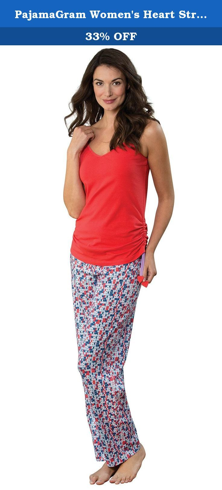 PajamaGram Women's Heart String Pajamas w/ Sleeveless Top and Pants. Tug at her heart strings in the super-sweet Heart Strings Pajamas from PajamaGram. These adorable jammies feature a red V-neck cami top with interlined fabric hearts and adjustable straps that allow you to wear it long or cinched at the sides. The coordinating full-length pants feature a modern geometric heart print in a kaleidoscope of colors. These premium women's PJs are designed for grade-A comfort with a flat-front...