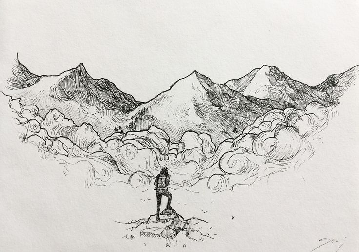 Forgot to post this one. A present drawn for my cousin's b-day ♥ to remind her of home.  #art #drawing #mountain #mountains #girl #traveler #adventure #travel #painting #ink #draw #pen #sakura #micron #backpack #art #salajova #home #beautiful #gift #ideas  #inspiration #beautiful