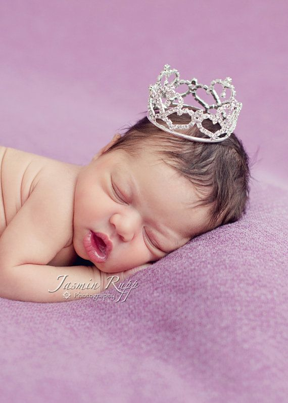Newborn Rhinestone Crown, Baby Tiara, Baby Crown, Infant Crown, Photo Prop on Etsy, $17.00