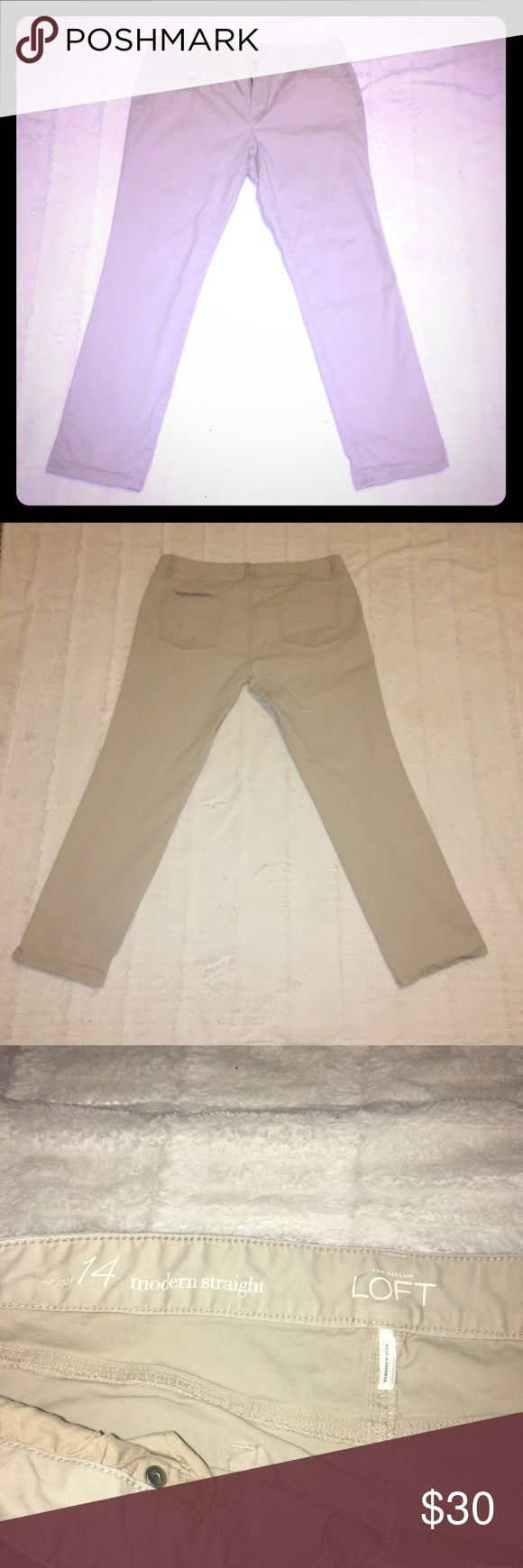 """Loft tan jeans Used:  like new: 321 Tan LOFT modern straight, size 14, 98% cotton 2% spandex. Around 16.5"""" width. Cover photo is only a cover photo for item please look at photos after the cover photo! The inseam is about 28"""" LOFT Jeans"""