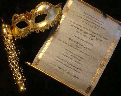 Scroll Invitations with Masquerade Mask
