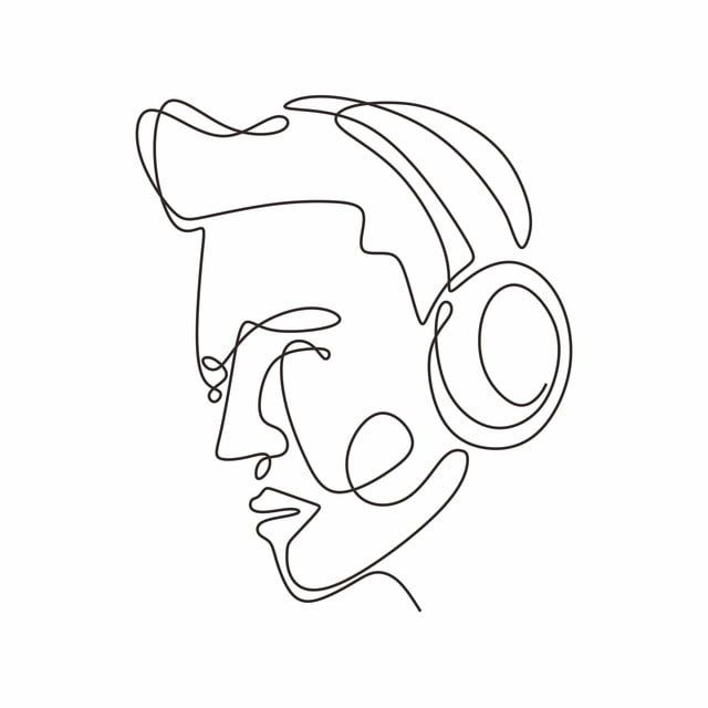 One Continuous Line Drawing Headphones Music Theme Device Vector Illustration Dj Clipart Object Earphones Png And Vector With Transparent Background For Free Line Art Drawings Line Drawing Vector Sketch
