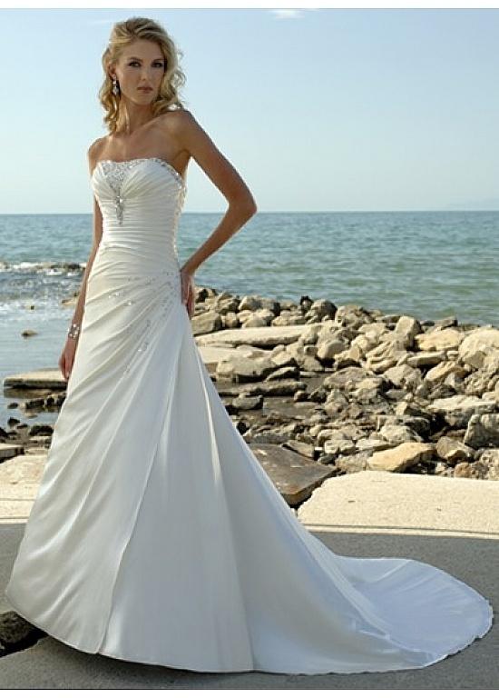 Elegant Soft Satin Strapless A-line Wedding Dress, i like the little bit of bling :)
