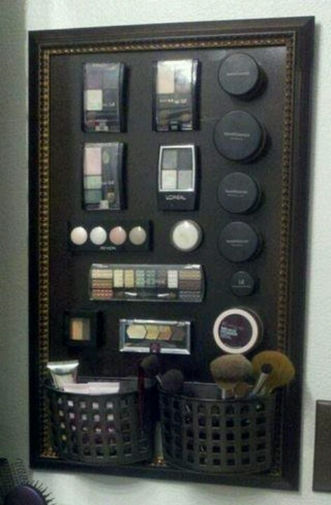Awesome makeup organization so you can see where everything is... Need to do this!!