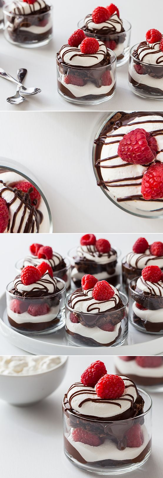 Mini Chocolate Raspberry Brownie Trifles