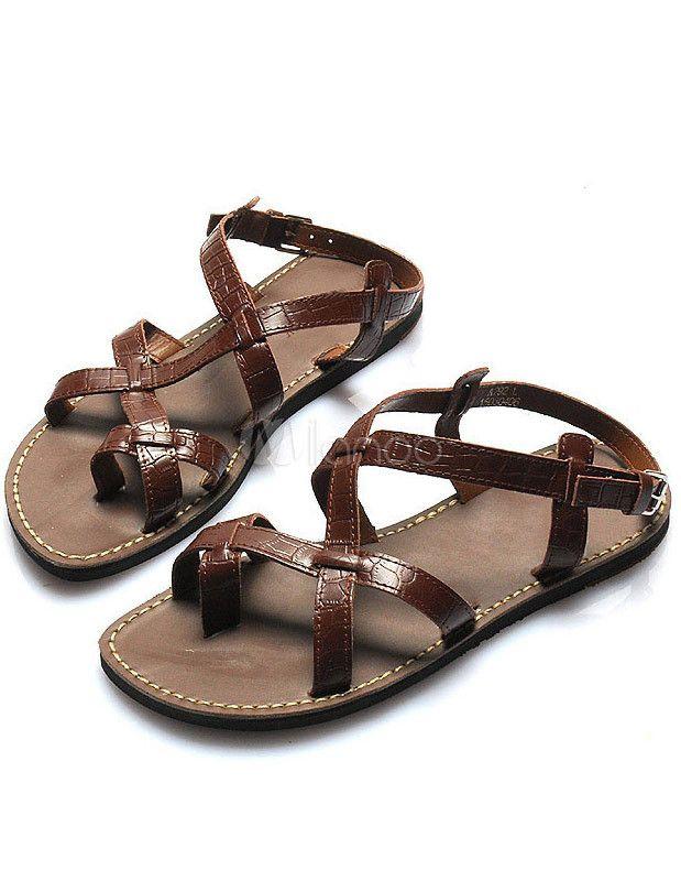 Brown gladiator sandals for men