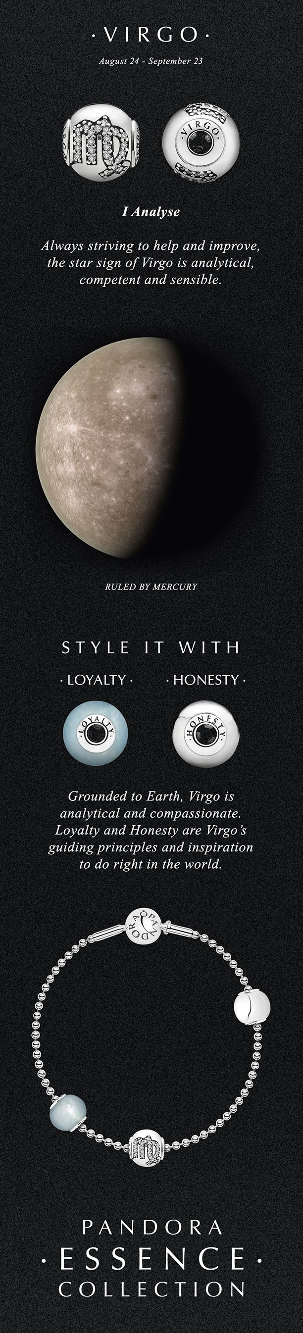 According to ancient myths, the glyph for Virgo represents a maiden holding a sheaf of barley.#PANDORA #PANDORAessencecollection #StarSigns