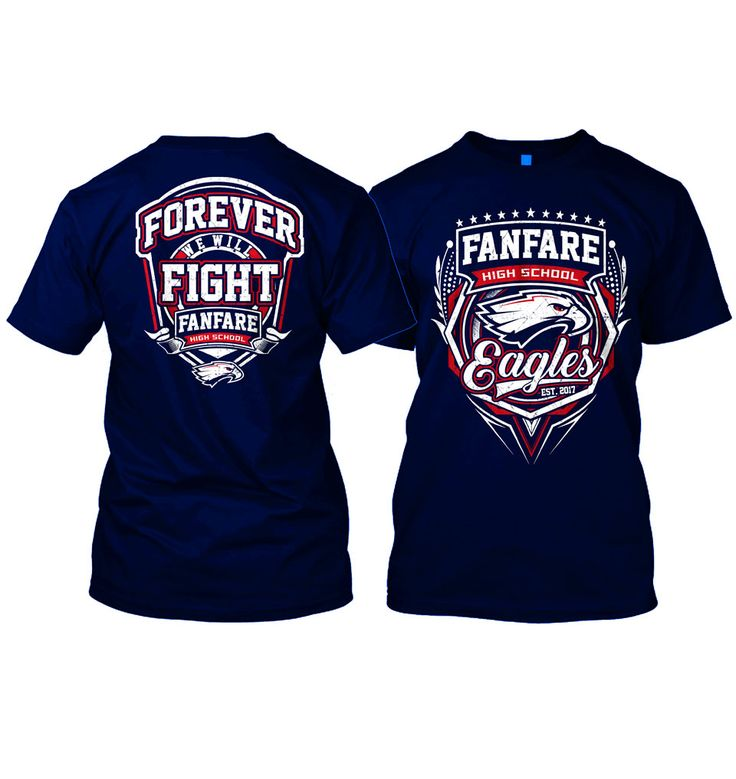 Design by puppen | Athletic T-Shirt Design for Fanfare High School Eagles https://99designs.com/t-shirt-design/contests/athletic-t-shirt-design-fanfare-high-school-eagles-714161/entries/127