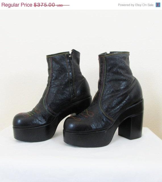 vintage 1970 s black elton platform boots s