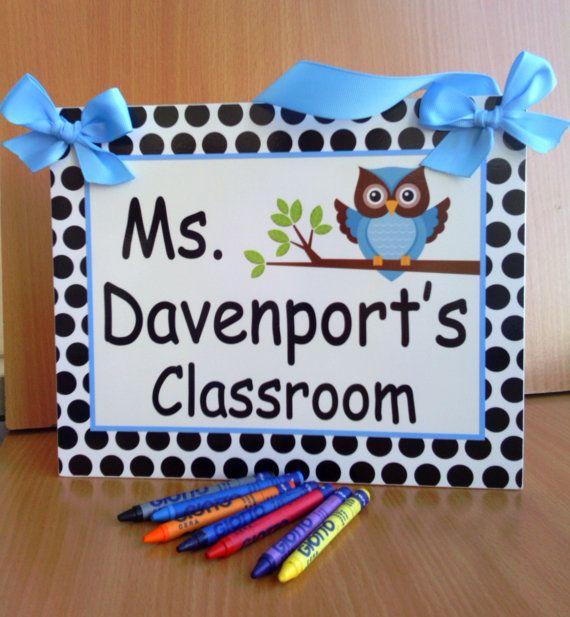 custom teacher name classroom door sign - white dots owls themed class blue owl wall plaque - PL273