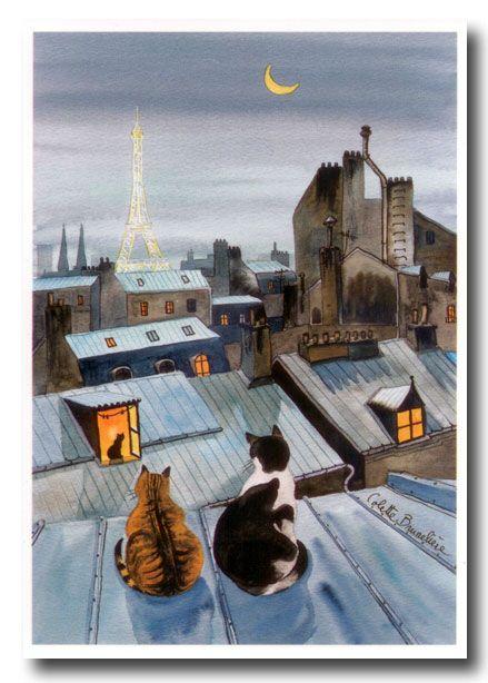 Kittys on  Parisian rooftops
