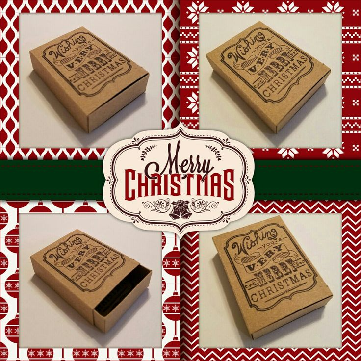A vintage style matchbox greeting.  Greeting on outside:  Wishing you a Very Merry Christmas