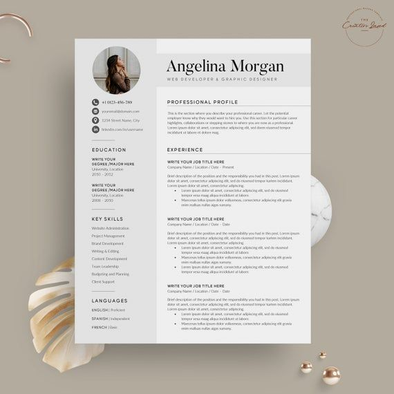 Modern Resume Cv Template Resume Cv Template With Photo 5 Page Pack Instant Download Clean R Resume Templates Resume Cv Creative Resume Templates