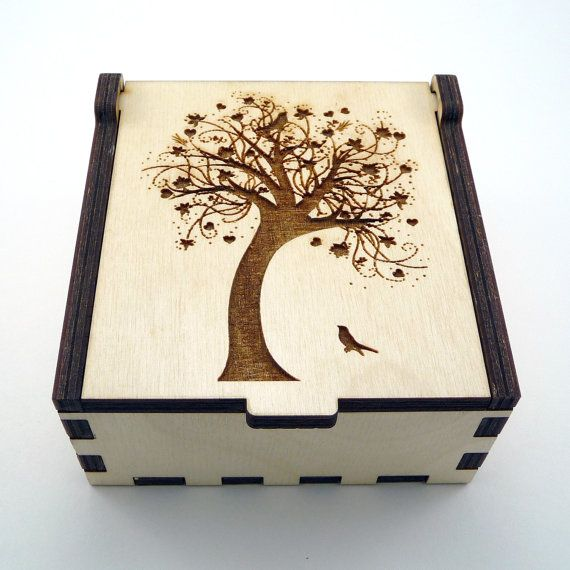 Tree of Life Jewelry Box Wood Trinket Box Small by TheArtofCrystal