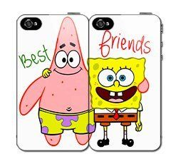 $5.00 OFF Until NEW YEAR'S DAY SALE Best Friends SET (2) Spongebob and Patrick iPhone 4 4s Hard Back Plastic Protective Case Cover:Amazon:Cell Phones & Accessories