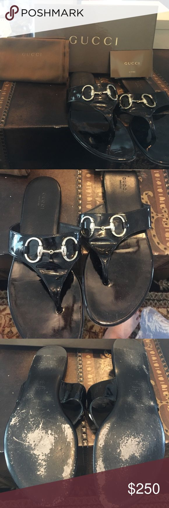 Gucci Patent Lamb black sandals Black Gucci patent sandals with classic horse bit detail. Size 10. Purchased from Saks. Soles of shoes are slightly worn, please see pictures. More pictures available upon request, price is negotiable. Gucci Shoes Sandals