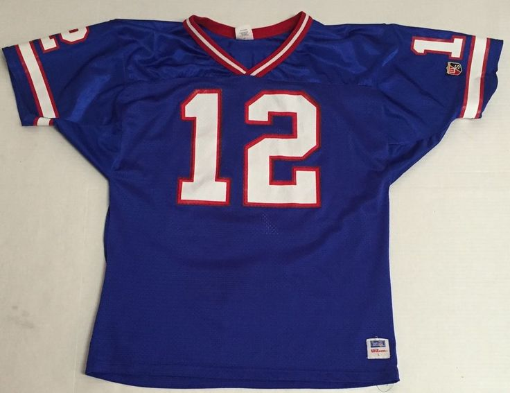 b5ed445b2 ... Vtg Buffalo Bills Jersey Jim Kelly Large Wilson Made In The USA Blue  Red NFL ...