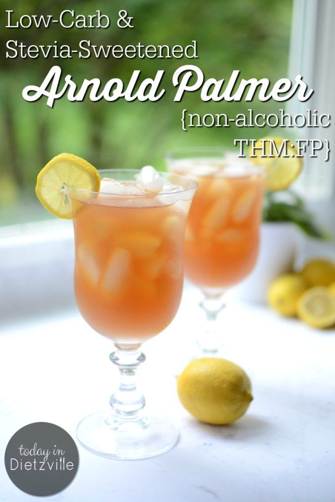 Low-Carb & Stevia-Sweetened Arnold Palmer | Whether you play golf or not, you're sure to enjoy this classic, non-alcoholic drink of sweet lemonade combined with refreshing iced tea. This recipe contains NO sugar; it's a low-carb and stevia-sweetened Arnold Palmer! If you're a Southerner and can't decide between your tea and lemonade, this is the best of both worlds! | TodayInDietzville.com