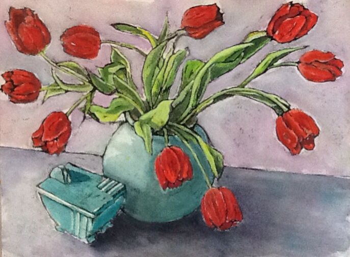 Red Tulips - watercolour, gouache, Indian ink on paper