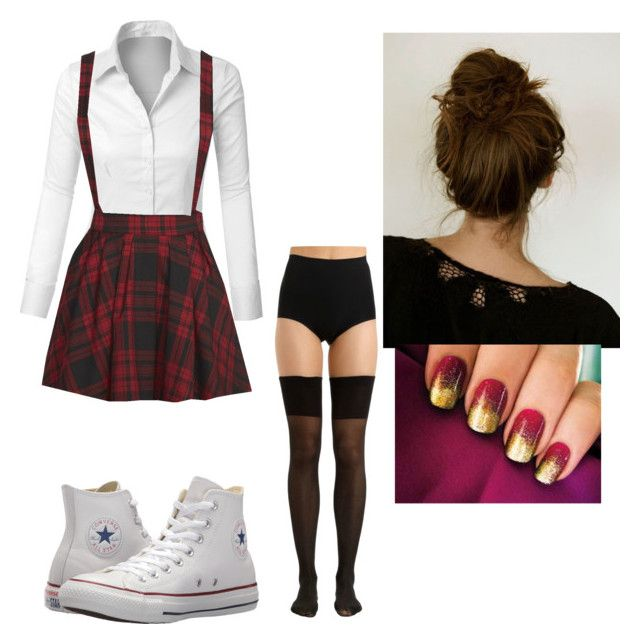 """Love Confession"" by caelan-g-chapman on Polyvore featuring LE3NO, Mini Cream, Converse and Chantal Thomass"