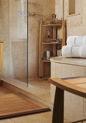This beautiful and functional Teak Corner Shelf Caddy is an elegant addition to your spa-inspired bath.: Teak Bathmat, Teak Bathroom, Shelf Caddy, Bathroom Accessories, Teak Corner, Bathroom Ideas, Bath Beautiful, Corner Shelves, Corner Shelf