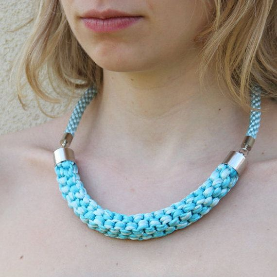 Turquoise and light blue knotted rope necklace by SophiesKnotShop