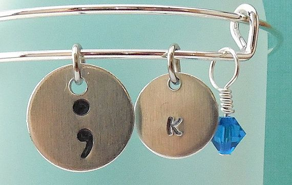Semicolon Jewelry. Semicolon Bracelet.  Punctuation jewelry
